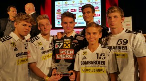 YOUNG FIVERS Wallishauser, Stummer, Schrattenecker, Vuckovis, Gangel und Derdak bei Sportstars-Gala 2015
