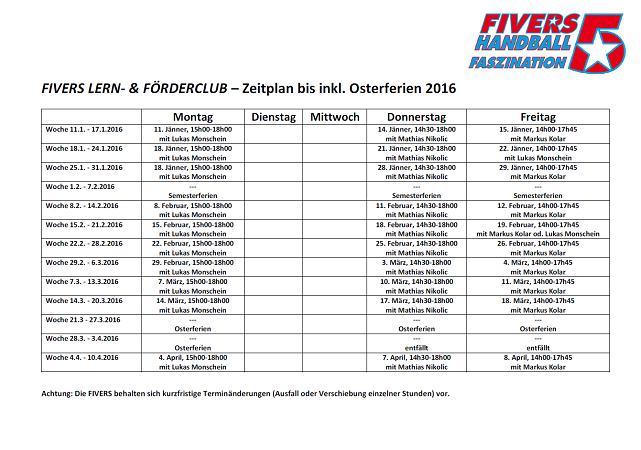 FIVERS LERN- & FÖDERCLUB, Stundenplan bis inkl. Osterferien 2016_Homepage 642x450