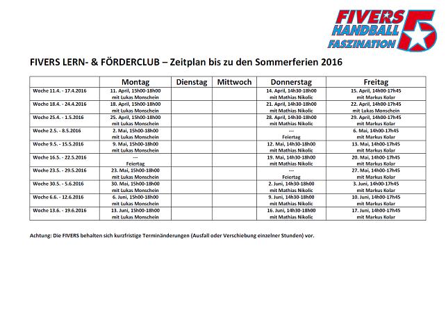 FIVERS LERN- & FÖDERCLUB, Stundenplan bis zu den Sommerferien 2016_Homepage 642x450