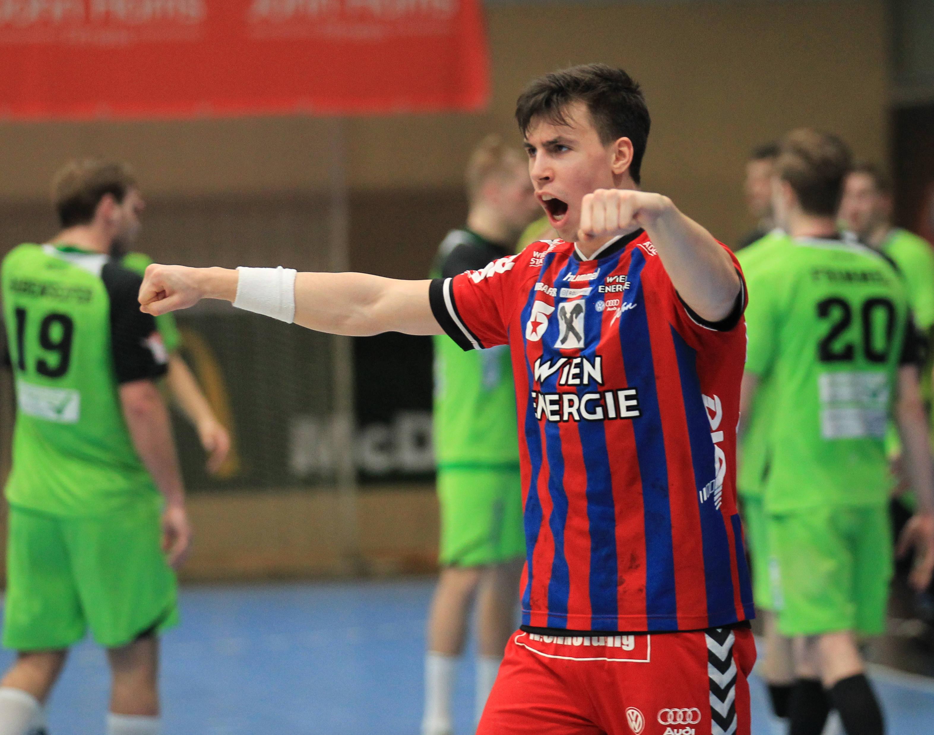 11.03.2017 Handball, Hollgasse, Wien, HLA Fivers Margareten - West Wien Jubel, Ivan MARTINOVIC, Copyright DIENER / Eva Manhart www.diener.at