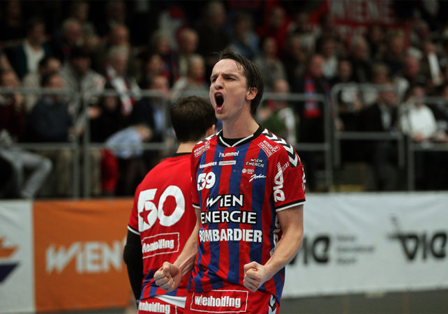 01.12.2017 Wien, Handball , Fivers - West Wien, Jubel , Markus Kolar,   , Copyright DIENER / Philipp Schalber