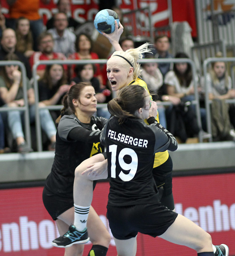 23.03.2018 Handball, Sporthalle Margareten, Hollgasse, Wien, OEHB CUP FINAL FOUR, Stockerau - St. Poelten, Katharina Schmoelz, Yvonne Riesenhuber, Lisa Felsberger, Copyright DIENER / Eva Manhart