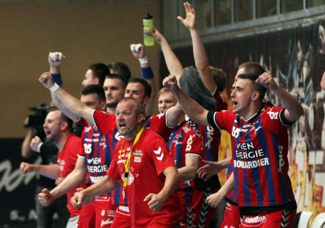 15.05.2018 Handball, HLA, Fivers - Krems,  Peter Eckl , Jubel  ,Copyright DIENER / Philipp Schalber