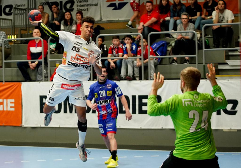 05.04.2019 Handball, HLA, Wien, Hollgasse, Fivers - Leoben, Eric Damboeck , Copyright DIENER / Philipp Schalber
