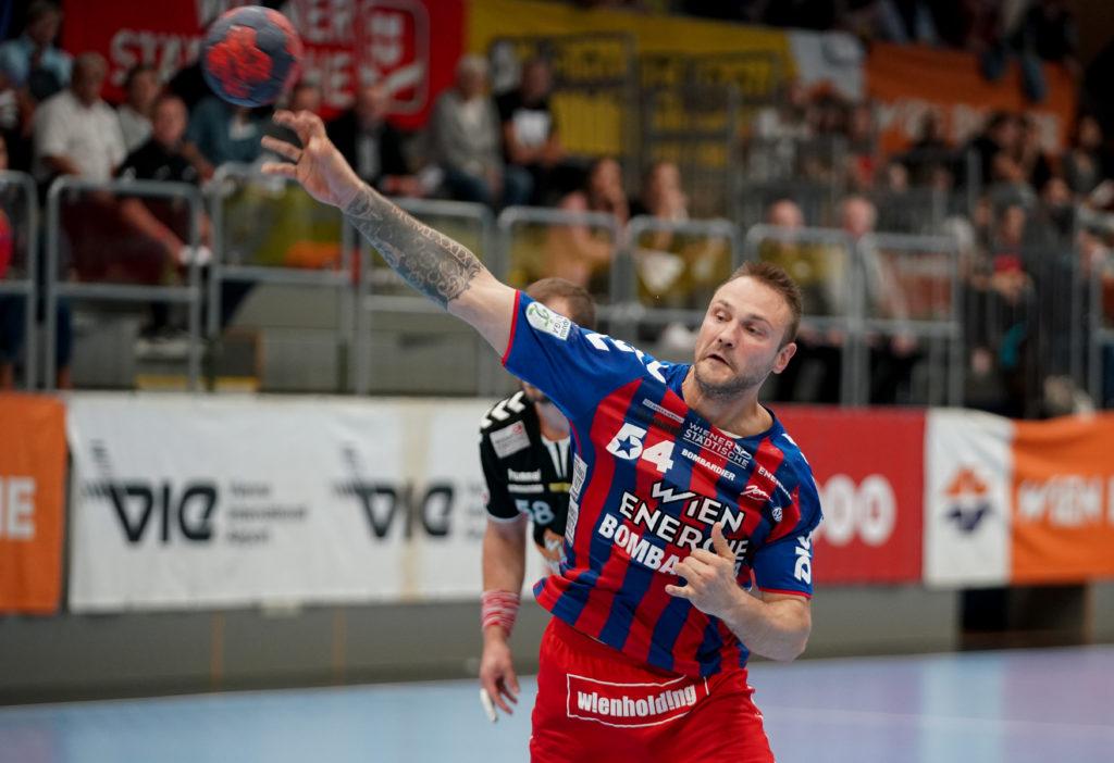 18.09.2019 Handball, HLA, Wien, Hollgasse, Fivers - Schwaz, Vytautas Ziura , Copyright DIENER / Philipp Schalber