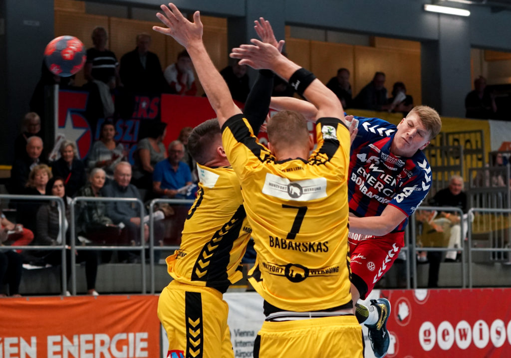 03.10.2019 Handball, HLA, Wien, Hollgasse, Fivers - Bregenz, Lukas Hutecek  , Copyright DIENER / Philipp Schalber