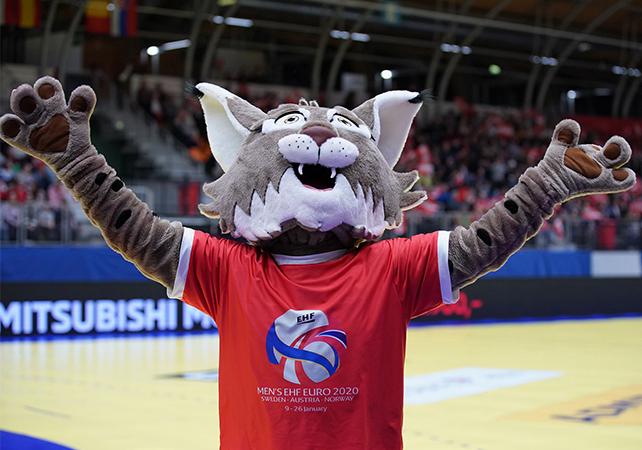 11.04.2019 Handball, EHF Euro Cup, OEHB, Nationalteam, Dornbirn, Messestadion Dornbirn, AUT - ESP, Oesterreich - Spanien,  Maskottchen, Winni,  Copyright DIENER / Eva Manhart
