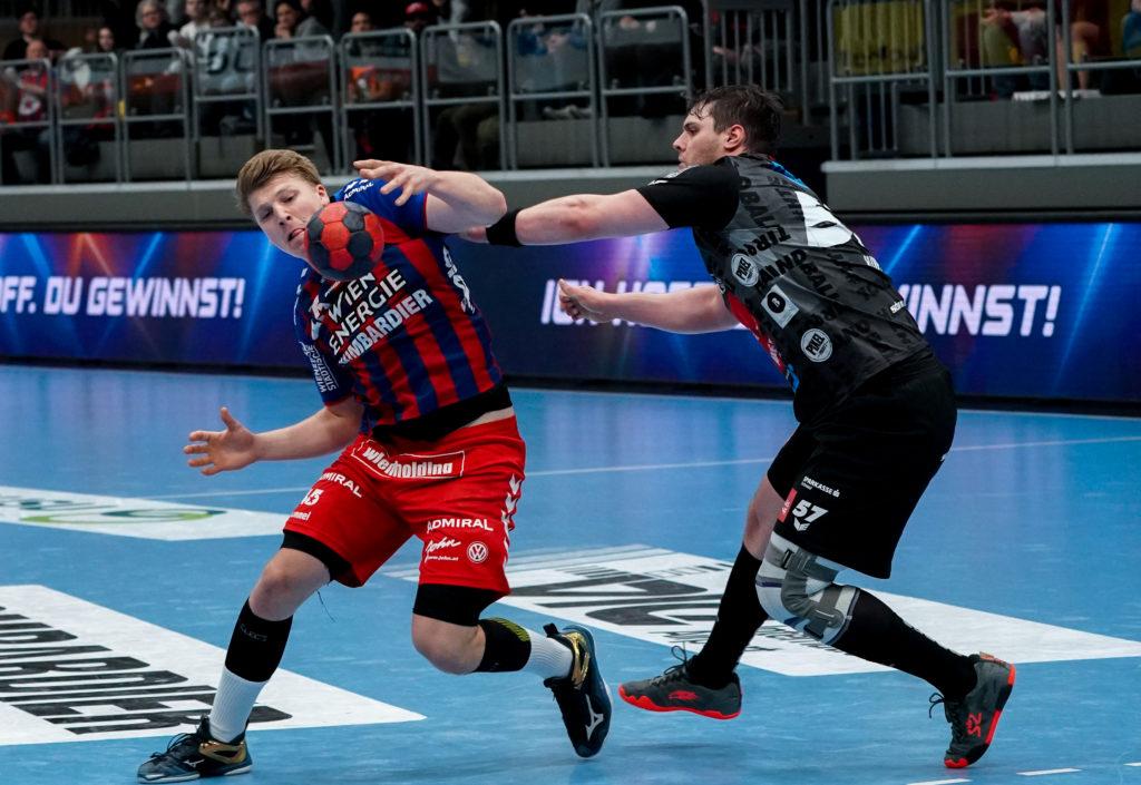 09.02.2020 Handball, HLA, Wien, Hollgasse, Fivers - Schwaz, Lukas Hutecek , Balthasar Hubert  , Copyright DIENER / Philipp Schalber